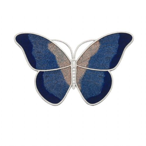 Large Blue Butterfly Brooch Silver Plated Brand New Gift Packaging